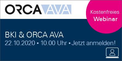 Live Webinar: BKI & ORCA AVA - Von der Kostenschätzung zum Leistungsverzeichnis